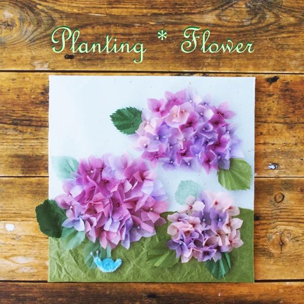 紫陽花。シニアのために開発されたエコなフラワーアート・プランティングフラワー。花束のラッピングペーパーとダンボールで作ります。プランティングフラワー制作がデイサービス、有料老人ホーム、小規模多機能施設等で機能訓練にもなります。